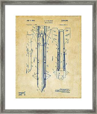 1953 Aerial Missile Patent Vintage Framed Print by Nikki Marie Smith