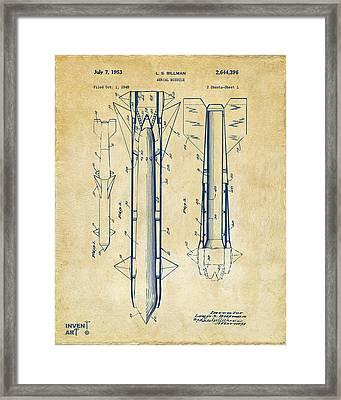 1953 Aerial Missile Patent Vintage Framed Print