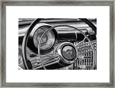1953 Buick Super Dashboard And Steering Wheel Bw Framed Print