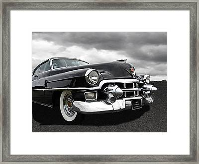 1953 Cadillac Coupe De Ville Black And White Framed Print by Gill Billington