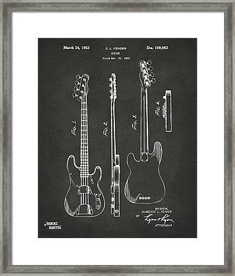 1953 Fender Bass Guitar Patent Artwork - Gray Framed Print by Nikki Marie Smith