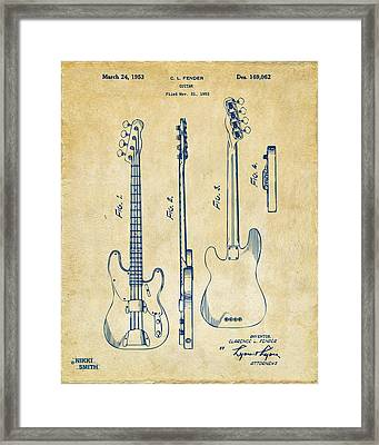1953 Fender Bass Guitar Patent Artwork - Vintage Framed Print by Nikki Marie Smith