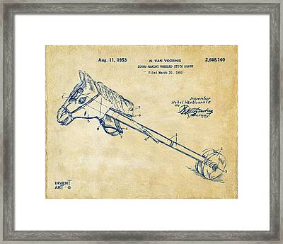 1953 Horse Toy Patent Artwork Vintage Framed Print by Nikki Marie Smith