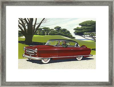 1953 Nash Rambler Car Americana Rustic Rural Country Auto Antique Painting Red Golf Framed Print by Walt Curlee