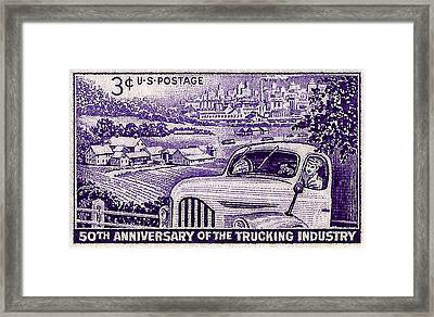 1953 Trucking Industry Postage Stamp Framed Print by David Patterson