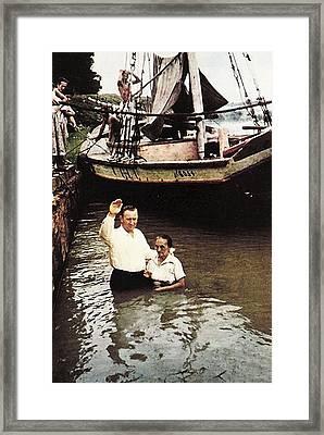1954 Baptism In The Amazon Framed Print by V Loft