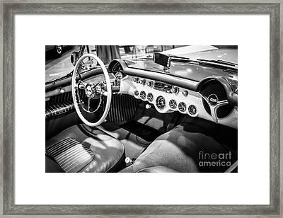 1954 Chevrolet Corvette Interior Black And White Picture Framed Print by Paul Velgos