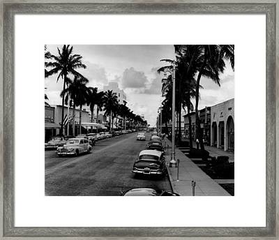 1954 Miami Beach Lincoln Road Framed Print by Retro Images Archive