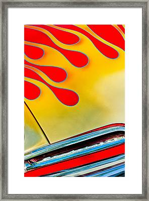 1954 Studebaker Champion Coupe Hot Rod Red With Flames - Grille Emblem Framed Print by Jill Reger