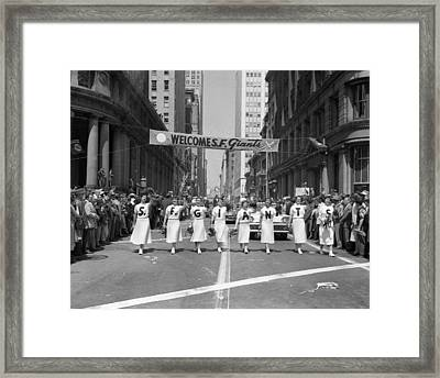 1954 World Series Champions Giants Parade Retro Cheerleaders Framed Print