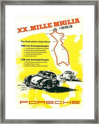 1954 Xx Mille Miglia Porsche Poster Framed Print by Georgia Fowler