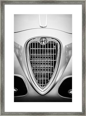 1955 Alfa Romeo 1900 Css Ghia Aigle Cabriolet Grille Emblem -0564bw Framed Print by Jill Reger