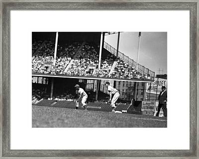 1955 Brooklyn Dodgers Jackie Robinson Framed Print by Retro Images Archive