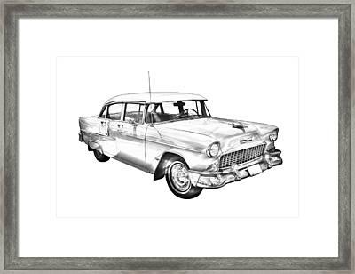 1955 Chevrolet Bel Air Illustration Framed Print by Keith Webber Jr