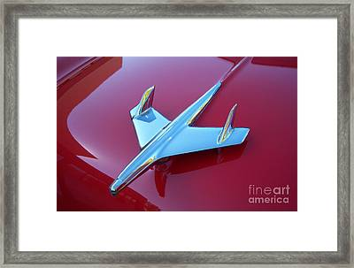 1955 Chevy Bel Air Hood Ornament Crop Framed Print by Heather Kirk