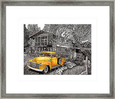 1955 Chevy Pick Up Truck In Lake Robers N M  Framed Print by Jack Pumphrey