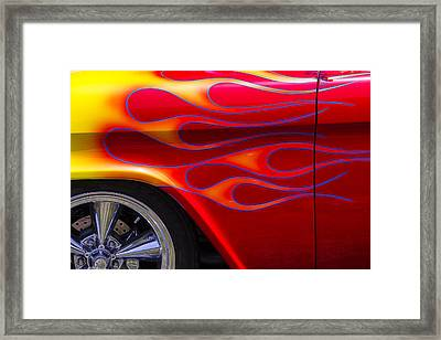 1955 Chevy Pickup With Flames Framed Print by Garry Gay