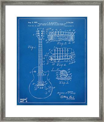 Framed Print featuring the digital art 1955 Mccarty Gibson Les Paul Guitar Patent Artwork Blueprint by Nikki Marie Smith