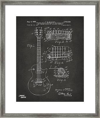 1955 Mccarty Gibson Les Paul Guitar Patent Artwork - Gray Framed Print