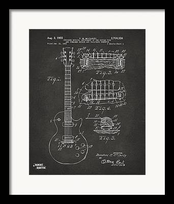 Guitar Drawings Framed Prints