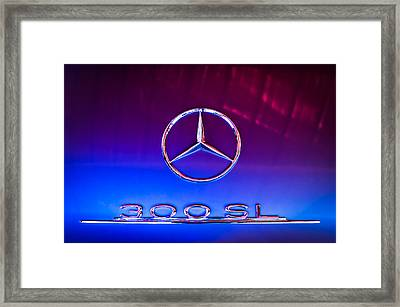 1955 Mercedes-benz Gullwing 300 Sl Emblem Framed Print