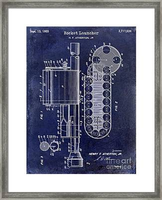1955 Rocket Launcher Patent Drawing Blue Framed Print