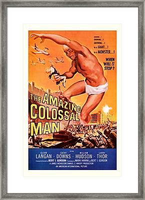 1955 The Amazing Colossal Man Vintage Movie Art Framed Print