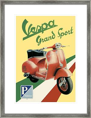 1955 - Vespa Grand Sport Motor Scooter Advertisement - Color Framed Print