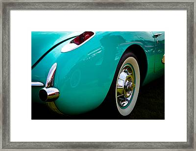 1956 Baby Blue Chevy Corvette Framed Print by David Patterson