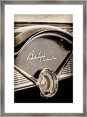 1956 Chevrolet Belair Dashboard Emblem - Clock Framed Print