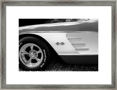 1956 Corvette Black And White Photograph Framed Print by Ann Powell