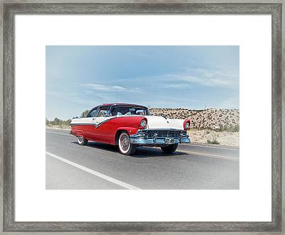 1956 Ford Crown Victoria Cruising The New Mexico Desert Framed Print by Mary Lee Dereske