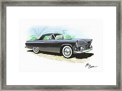 1956 Ford Thunderbird  Black  Classic Vintage Sports Car Art Sketch Rendering         Framed Print