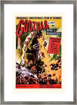 1956 Godzilla Vintage Movie Art Framed Print by Presented By American Classic Art