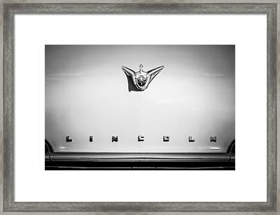 1956 Lincoln Premiere Hood Ornament - Embelm -1110bw Framed Print by Jill Reger