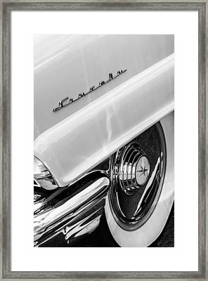 1956 Lincoln Premiere Rear Emblem  - Wheel -0828bw Framed Print