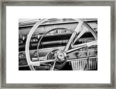 1956 Lincoln Premiere Steering Wheel -0838bw Framed Print