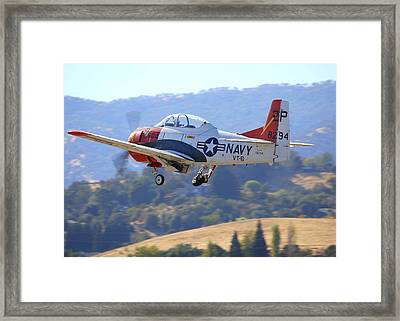 1956 North American T-28b On Climb-out N5440f Framed Print