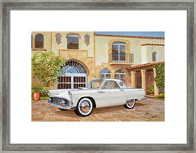 1956 Thunderbird At Palm Beach  Classic Vintage Ford Art Sketch Rendering          Framed Print by John Samsen