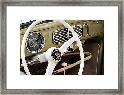 1956 Vw Convertible Steering Wheel Framed Print by Roger Mullenhour