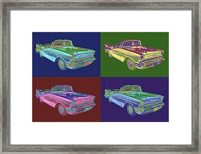 1957 Chevrolet Bel Air Convertible Pop Art Framed Print by Keith Webber Jr