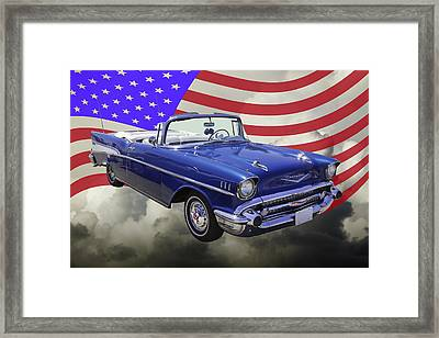 1957 Chevrolet Bel Air With American Flag Framed Print by Keith Webber Jr