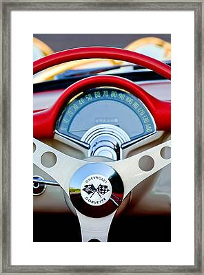 1957 Chevrolet Corvette Convertible Steering Wheel Framed Print by Jill Reger