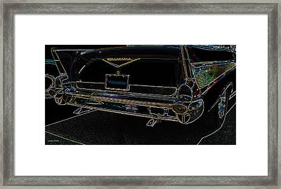 1957 Chevrolet Rear View Art Black_varooom Tag Framed Print