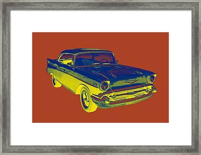 1957 Chevy Bel Air Car Pop Art  Framed Print by Keith Webber Jr