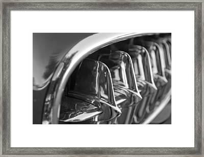 1957 Corvette Grille Black And White Framed Print by Jill Reger