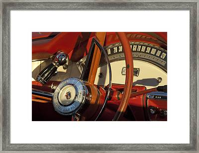 1957 Ford Fairlane 500 Skyliner Retractable Hardtop Convertible Steering Wheel Framed Print by Jill Reger