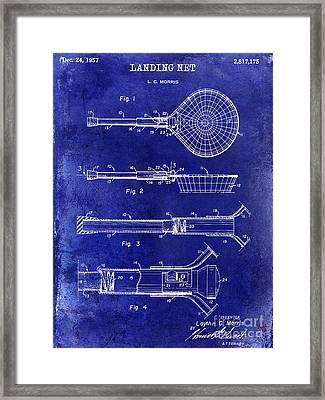 1957 Landing Net Patent Drawing Blue Framed Print
