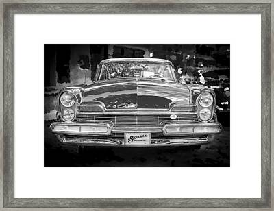 1957 Lincoln Premiere Coupe Bw Framed Print by Rich Franco