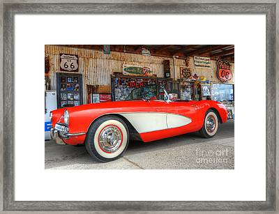 1957 Little Red Corvette Route 66 Framed Print by Bob Christopher